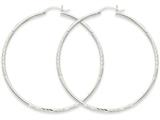 14k White Gold Satin and Diamond-cut 2mm Round Hoop Earrings style: TC204