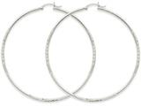 14k White Gold Satin and Diamond-cut 2mm Round Hoop Earrings style: TC206