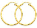 14k Satin and Bright-cut 2mm Round Tube Hoop Earrings style: TC207
