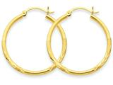 14k Satin and Diamond-cut 2mm Round Tube Hoop Earrings style: TC208