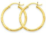 14k Satin and Diamond-cut 2mm Round Tube Hoop Earrings style: TC209