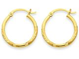 14k Satin and Diamond-cut 2mm Round Tube Hoop Earrings style: TC210