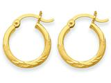14k Satin and Diamond-cut 2mm Round Tube Hoop Earrings style: TC211