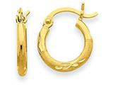 14k Satin and Diamond-cut 2mm Round Tube Hoop Earrings style: TC212