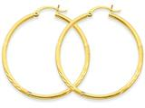14k Satin and Diamond-cut 2mm Round Tube Hoop Earrings style: TC213