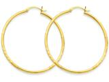 14k Satin and Diamond-cut 2mm Round Tube Hoop Earrings style: TC214