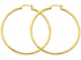 14k Satin and Bright-cut 2mm Round Tube Hoop Earrings style: TC215