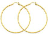 14k Satin and Bright-cut 2mm Round Tube Hoop Earrings style: TC216