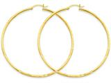 14k Satin and Diamond-cut 2mm Round Tube Hoop Earrings style: TC217