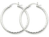 14k White Gold Diamond-cut 2mm Round Tube Hoop Earrings style: TC219