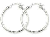 14k White Gold Diamond-cut 2mm Round Tube Hoop Earrings style: TC220