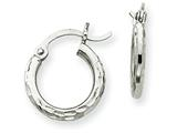 14k White Gold Diamond-cut 2mm Round Tube Hoop Earrings style: TC224