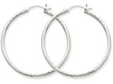 14k White Gold Diamond-cut 2mm Round Tube Hoop Earrings style: TC225