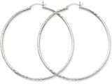 14k White Gold Diamond-cut 2mm Round Tube Hoop Earrings style: TC229