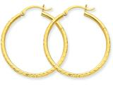 14k Bright-cut 2mm Round Tube Hoop Earrings style: TC231