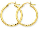 14k Bright-cut 2mm Round Tube Hoop Earrings style: TC232