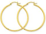 14k Bright-cut 2mm Round Tube Hoop Earrings style: TC236