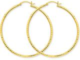 14k Bright-cut 2mm Round Tube Hoop Earrings style: TC238