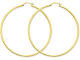 14k Bright-cut 2mm Round Tube Hoop Earrings style: TC240