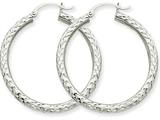 14k White Gold Diamond-cut 3mm Round Hoop Earrings style: TC251