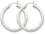 14k White Gold Diamond-cut 3mm Round Hoop Earrings style: TC252