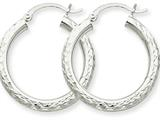 14k White Gold Diamond-cut 3mm Round Hoop Earrings style: TC253