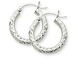 14k White Gold Diamond-cut 3mm Round Hoop Earrings style: TC254