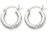 14k White Gold Diamond-cut 3mm Round Hoop Earrings style: TC255