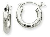 14k White Gold Diamond-cut 3mm Round Hoop Earrings style: TC256