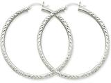 14k White Gold Diamond-cut 3mm Round Hoop Earrings style: TC259