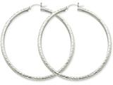 14k White Gold Diamond-cut 3mm Round Hoop Earrings style: TC261