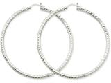 14k White Gold Diamond-cut 3mm Round Hoop Earrings style: TC262