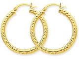 14k Diamond-cut 3mm Round Hoop Earrings style: TC264
