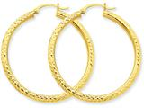 14k Diamond-cut 3mm Round Hoop Earrings style: TC269