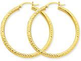 14k Bright-cut 3mm Round Hoop Earrings style: TC269