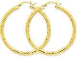 14k Bright-cut 3mm Round Hoop Earrings style: TC270