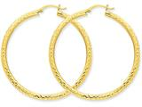 14k Bright-cut 3mm Round Hoop Earrings style: TC271