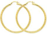 14k Diamond-cut 3mm Round Hoop Earrings style: TC272