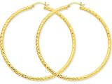 14k Bright-cut 3mm Round Hoop Earrings style: TC274