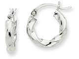 14k White Gold 3mm Twisted Hoop Earrings style: TC353