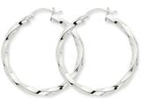 14k White Gold 3mm Twisted Hoop Earrings style: TC357
