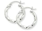 14k White Gold 3mm Twisted Hoop Earrings style: TC359