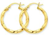 14k Polished 3mm Twisted Hoop Earrings style: TC360