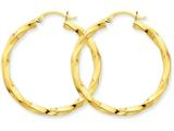 14k Polished 3mm Twisted Hoop Earrings style: TC362