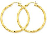 14k Polished 3mm Twisted Hoop Earrings style: TC363