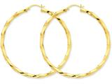 14k Polished 3mm Twisted Hoop Earrings style: TC365