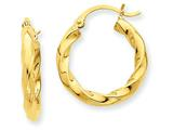 14k Polished 3mm Twisted Hoop Earrings style: TC366