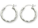 14k White Gold Polished 3.25mm Twisted Hoop Earrings style: TC375