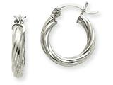 14k White Gold Polished 3.25mm Twisted Hoop Earrings style: TC376