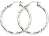 14k White Gold Polished 3.25mm Twisted Hoop Earrings style: TC380